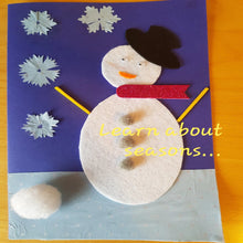 Load image into Gallery viewer, a handmade greeting picture card with a snowman made using felt and form shapes