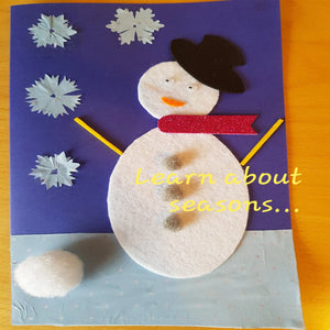 a handmade greeting picture card with a snowman made using felt and form shapes