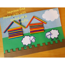Load image into Gallery viewer, two sheep and two houses crafted with color matchsticks, a handmade picture card made by a kid
