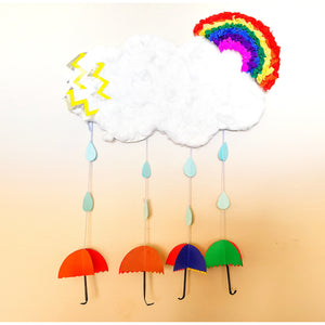 The completed rainy day cloud craft kit activity by kids