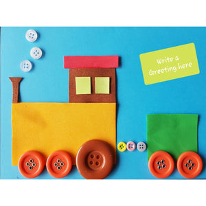 a picture card of a train made using pre-cut felt shapes and buttons