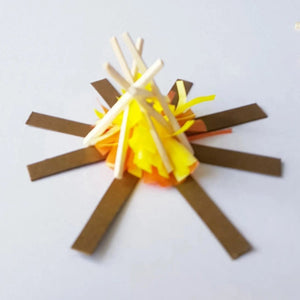 kids paper craft camp fire made with match sticks, color tissue paper and card strips
