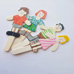 painted wooden 2D figure family with two kids, kids craft activity in the camping craft kit