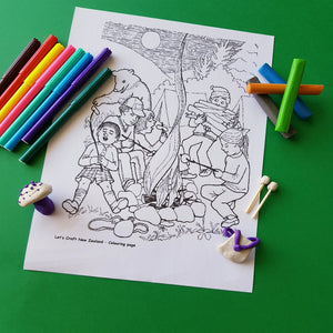 coloring page activity with coloring pens, modelling clay activity with marshmallows, backpack and a mushroom made of modelling clay