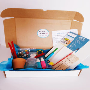 Prepared craft kit for kids to make four DIY crafts
