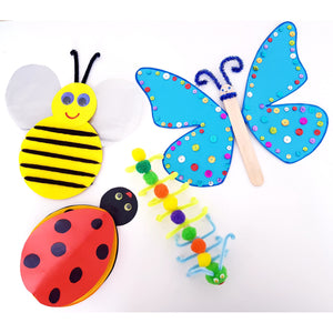Kids craft kit with four insect craft activities