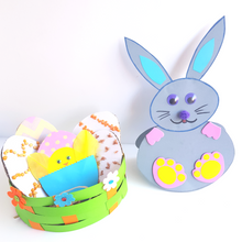 Load image into Gallery viewer, Rocking Easter Bunny Craft  and Easter egg basket craft for kids