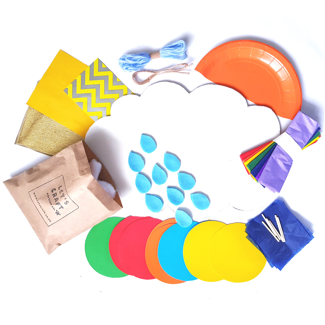 The craft materials required to make the kids cloud craft kit
