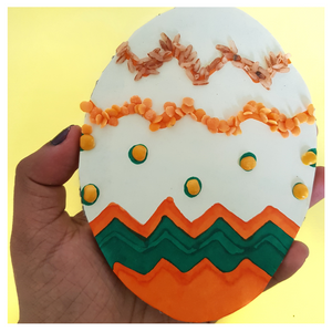 Decorated Easter Egg with colouring and lentils