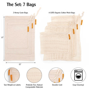 Set of 7 Reusable Produce Bags