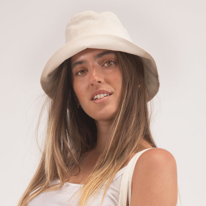 Hemp Bucket Hat in White