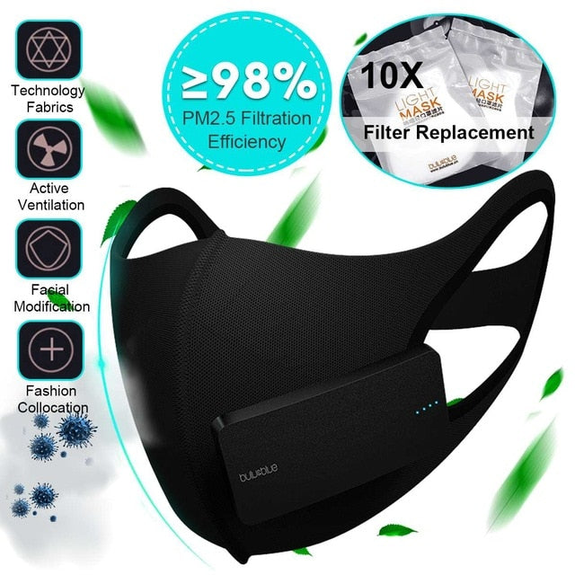 Smart Electric Face Dust Mask Air Purifying N95 Anti Dust Pollution PM2 5
