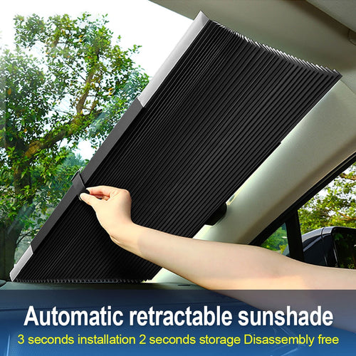 Retractable Car Front / Rear Window Sunshade Sun Protection Curtain