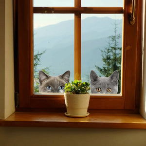 Funny Cat Dog Peeking Car / Window / Wall Sticker