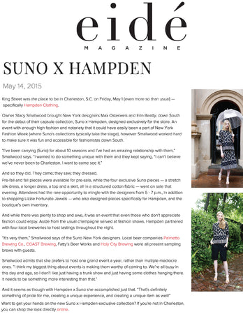 Eide Magazine - Suno x Hampden - Jan 2015