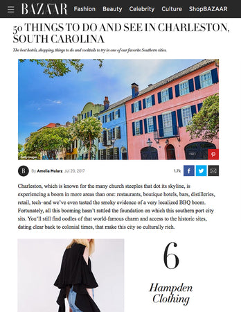 Harper's Bazaar - 50 Things To Do and See in Charleston - July 2017