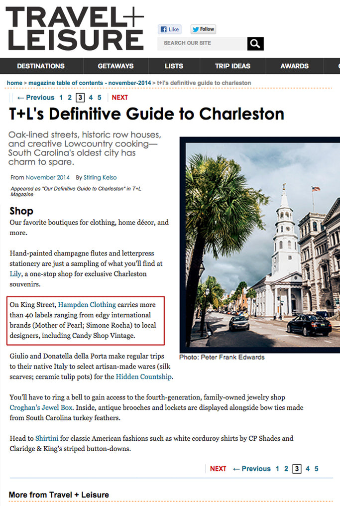 Travel + Leisure.com - Definitive Guide to Charleston - Jan 2014