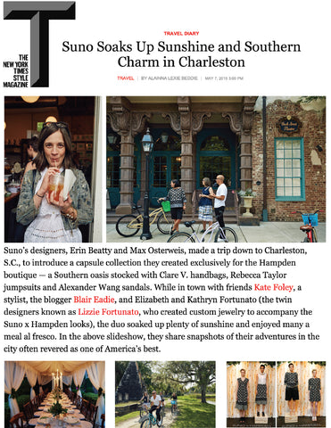 New York Times Magazine - Suno in Charleston - Jan 2015