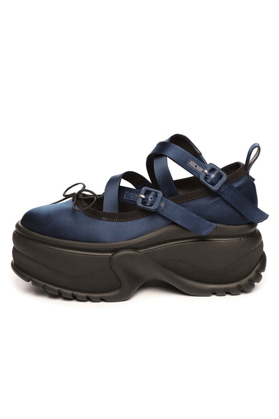 Platform Track Sole Ballerina Shoe in Navy