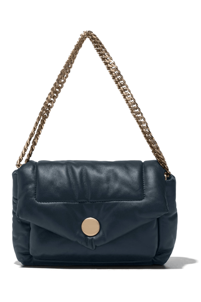 Harris Puffy Chain Shoulder Bag in Dark Navy