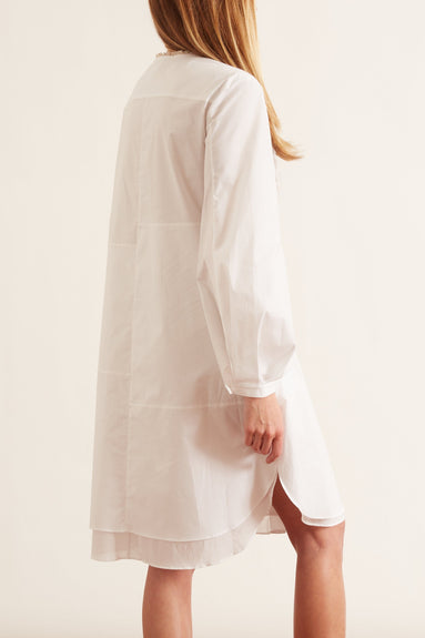 Poplin Power Dress in Pure White