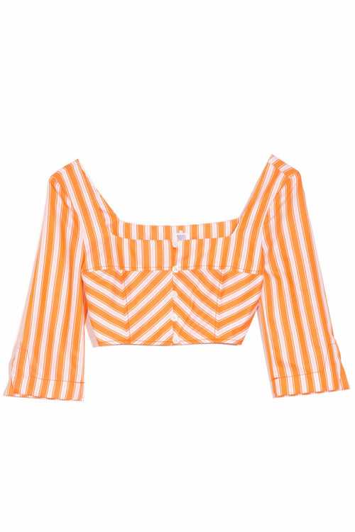 3/4 Sleeve Crop Top in Orange Stripe
