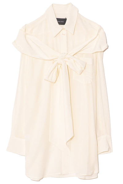 Masculine Bow Shirt in Cream