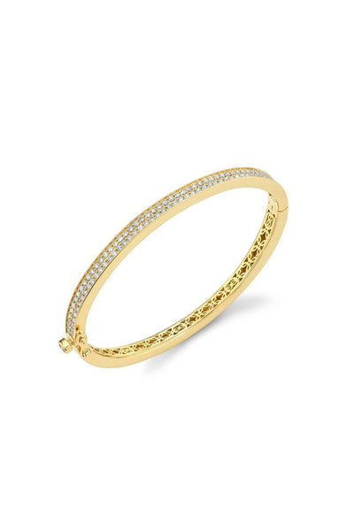 Small Pave Hinge Bangle in Yellow Gold
