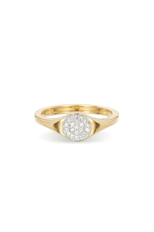 Small Solid Pave Disc Signet Ring in Yellow Gold