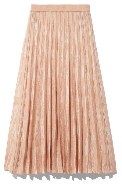 Woodgrain Jacquard Skirt in Off White/Tan