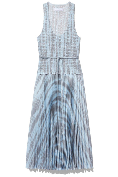 Printed Smocked Top Dress in Light Blue/Grey Alligator