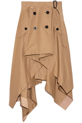 Cotton Gabardine Skirt in Beige
