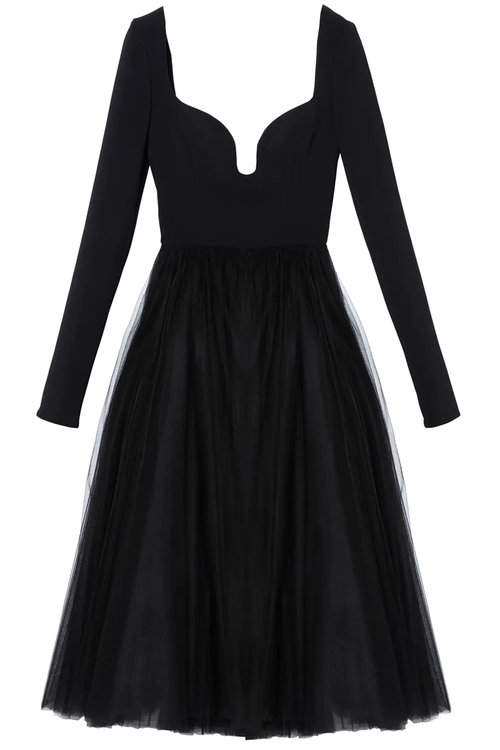 Sweetheart Neckline A-Line Dress in Black