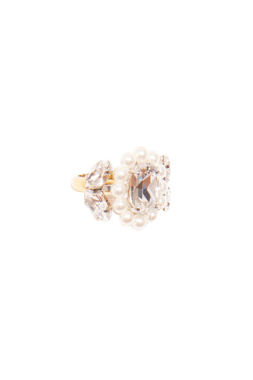 Large Cameo Ring in Pearl/Clear