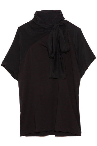 Tie Neck T-Shirt in Black