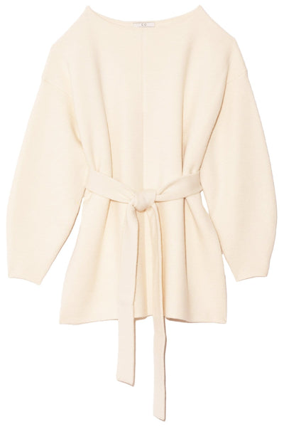Belted Cashmere Knit in Ivory