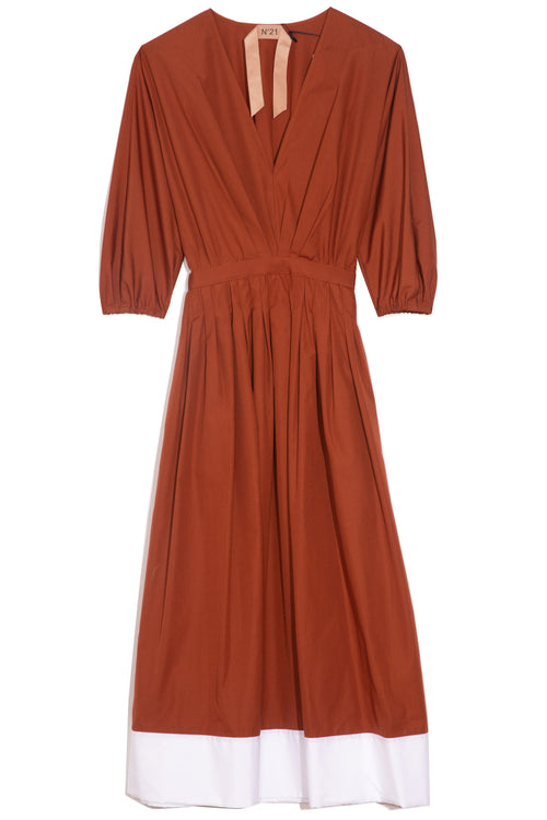 Cotton Midi Dress in Indian Sienna