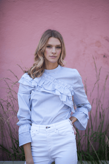 Moya Top in Blue White Stripe