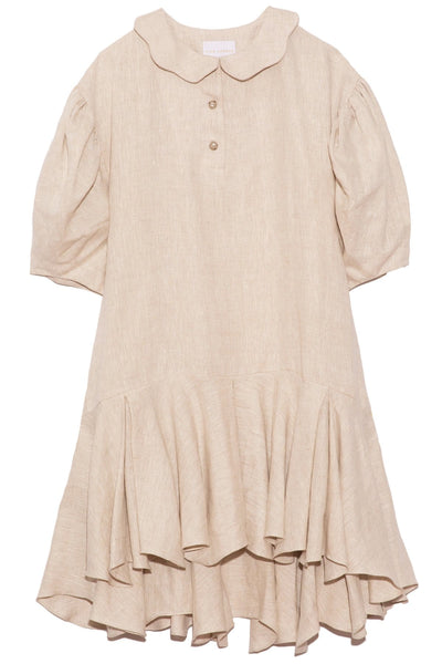 Ana Puffy Sleeve Dress in Khaki Linen