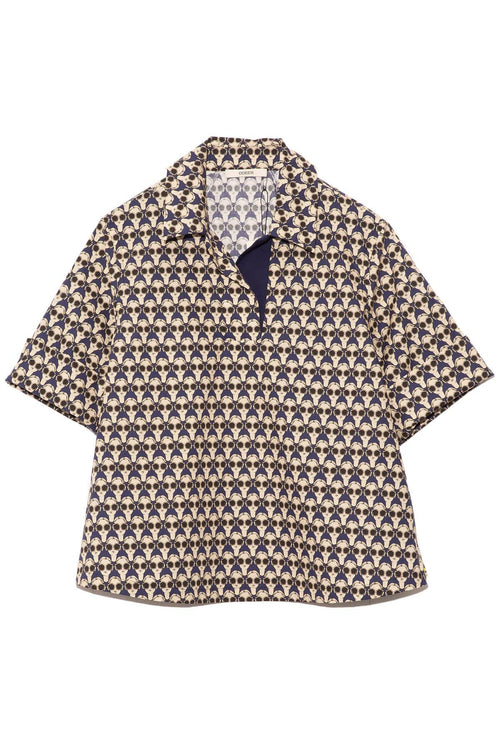 Printed Quarter Button Shirt in Ink
