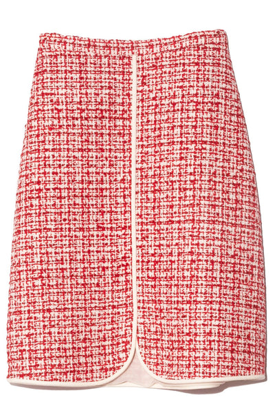Tweed Skirt in Red/White