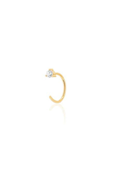 Single Prong Set Diamond Loop Earring in Yellow Gold