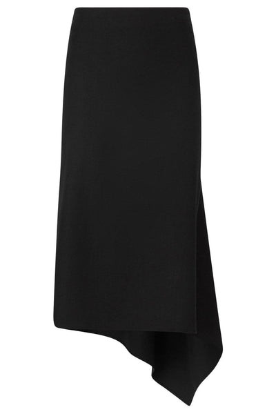 Stretch Linen Dillion Skirt in Black