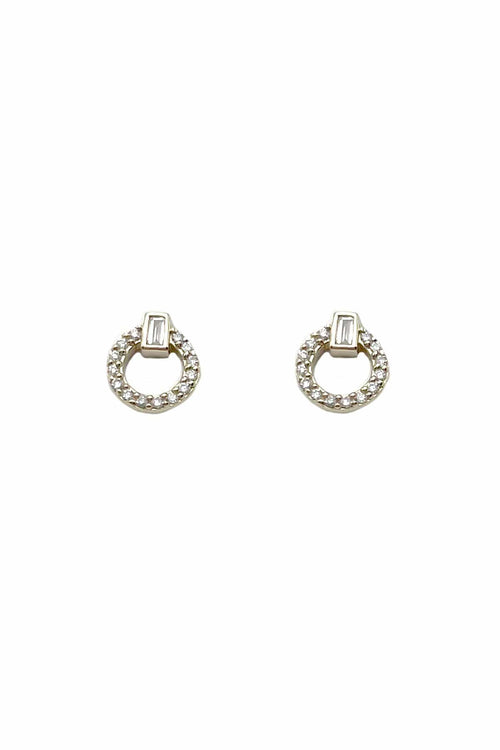 Circle Studs with Baguette Diamonds