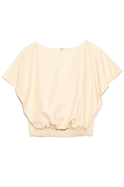 Cap Sleeve Leather Blouse in Cream