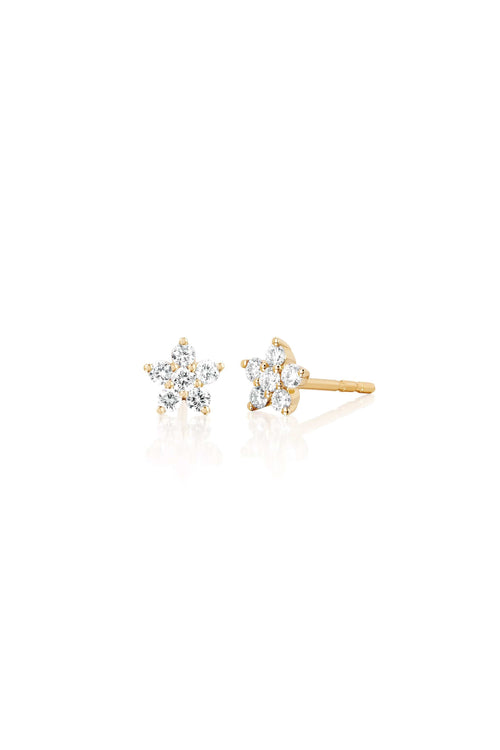 Diamond Flower Stud Earring in Yellow Gold