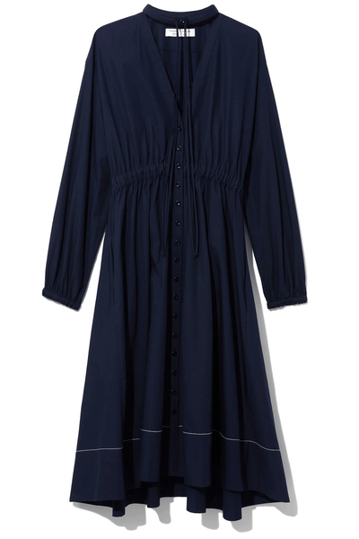 Cotton Shirting Shirt Dress in Midnight