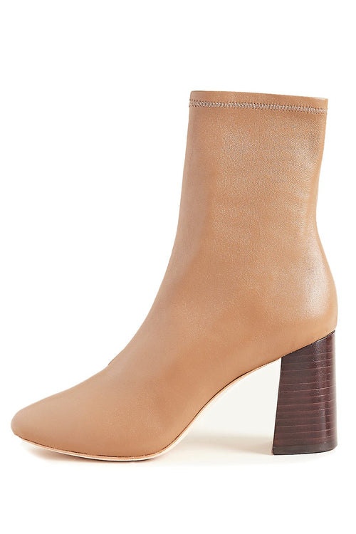 Elise Slim Ankle Bootie with Block Heel in Tabac