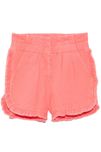 Neon Acid Denim Ruffle Shorts in Pink