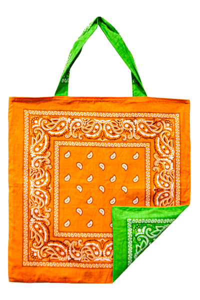 Bandana Beach Bag in Green/Orange